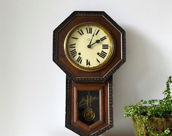 vintage regulator wall clock school house clock rustic clock