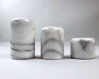Vintage marble candle holder candle holders candles set of 3 grey white 70s