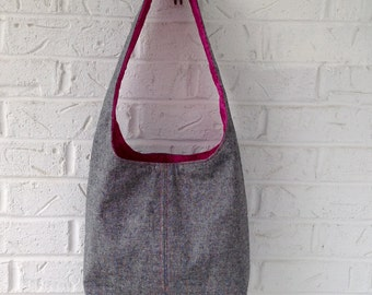 Gray Shoulder Bag / Gray Linen Handbag / Fabric Bag / Handmade Bag / Gray purse / Boho style bag / Gray and pink bag / Knitting project bag