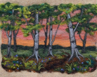 Needle Felting Landscape -- A Birch Wood in Spring