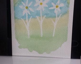 DAISY WATERCOLOR CARD hand painted original