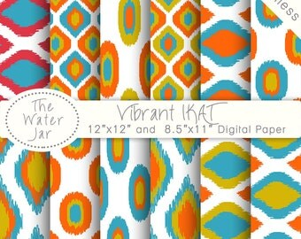 Summer Ikat Digital Paper Pack, Commercial Use, Orange & Yellow Digital Paper, Ikat Pattern, Seamless Ikat Printable Paper