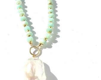 peruvian opal necklace, pearl drop necklace, peruvian opal and pearl necklace