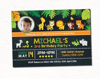 JUNGLE Invitation. Safari First Birthday Invitation. Boys. Girls. Jungle Animals Chalkboard Invite. Safari Baby Giraffe Invitation. JUN3