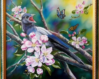 Oil painting, Spring, Flowers, Apple blossoms, Bird, Rook, Butterfly, Bumblebee, Gift for her, Gift for mom