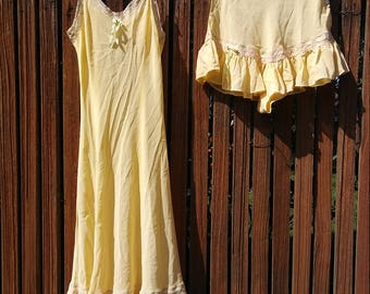 1930s 1940s yellow ruffled sheer two piece slip + tap pants // xs or small