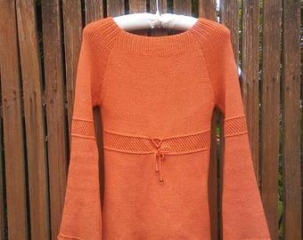 1960s 1970s orange knit sweater // s-m-l