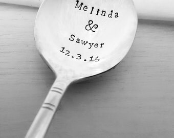 Wedding Favor Spoons - First Names & Date Spoon, Wedding, Custom, Personalized, Vintage, Hand Stamped, Shower, Anniversary, Gift, Present