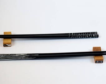 Bamboo Chopsticks Wooden Japanese / Korean Chinese Stripes - Handpainted unique and cute gift for sushi lover! Set with or without Holder