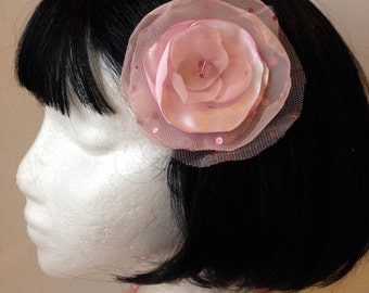 Pink Sequin Tulle and Satin Hair Clip