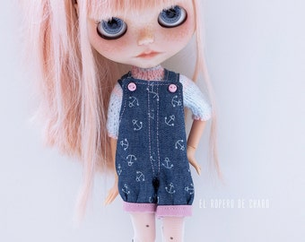Denim Overalls and Sweater for Blythe doll - sweater for Blythe doll and Peto cowboy