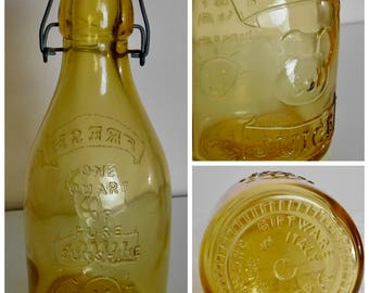 Yellow Amber Glass Art Vintage Decanter Bottle Fresh Juice / One Quart of Pure Sunshine / Signed Crownford Giftware Made in Italy 1985