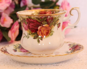 Royal Albert Old Country Roses Tea Cup and Saucer 1960s Demitasse Teacup and Saucer