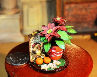 Dollhouse Miniature Christmas decoration, miniature Christmas flowers, poinsettia, scale one inch, miniature Christmas, Dollhouse Christmas