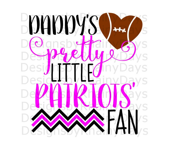 Buy 3 get 1 free! Daddy's pretty little Patriots' fan cutting file, SVG, DXF, png, football design, cute girl football svg