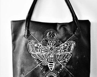 Bag in black imitation leather homemade and painted .Gothic Butterfly.