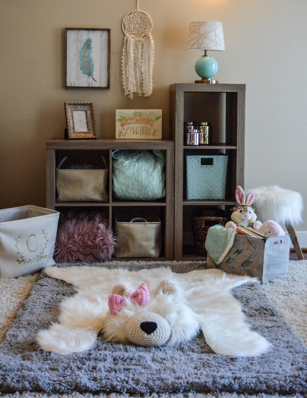 Woodland Baby Bedroom: XL Polar Bear Rug / Faux Bear Rug / Woodland Nursery / Baby
