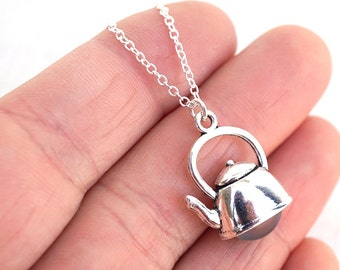Silver Teapot Necklace Tea Pot Necklace Sterling Silver Chain Necklace Glass Pearl Teapot Charm Alice in Wonderland Jewelry Christmas Gift