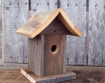 Rustic Barn Wood Birdhouse, Reclaimed Barn Wood Birdhouses, Mother's Day Gift Birdhouse, Rare Bluebird Birdhouse.