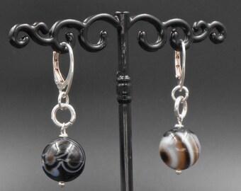 Earrings in 925, natural stone ball black agate, black, earring sleeper, elegance, gift