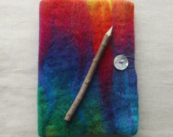 Needle felted A5 Art Journal/Diary/Notebook Cover, complete with A6 Kraft (blank) notebook