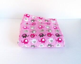 Pink Baby Blanket, Fleece Baby Blanket, Baby shower gift, baby girl, baby girl gift, pink elephant nursery, reversible blanket, Pink nursery