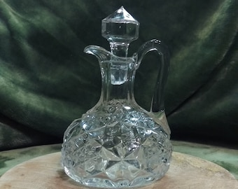 Vintage pressed glass Decanter, crystal clear glass with stopper, engraved stars or snowflakes, add sparkle to your table, oil and vinegar
