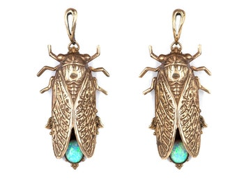 Cicada jewelry opal stones victorian earrings beetle earring insect jewelry Cicadas