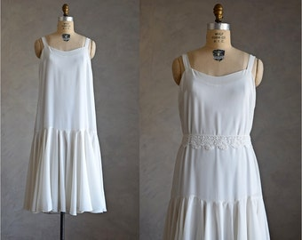 vintage ivory white chiffon dress | ruffled slip dress | 1970s does 1920s drop waist dress | 20s style chiffon party dress