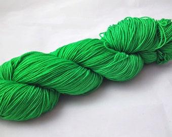 "Hand Dyed Sock Yarn, Superwash Merino - Nylon - Sparkle - Stellina, ""Green Means Go"""