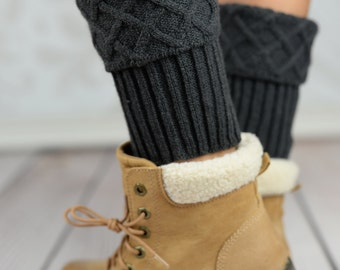 Charcoal Mosaic Cable Knit Boot Cuffs