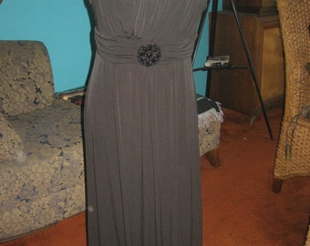 En Focus Studio Long Black Evening Wear Empire Grecian Style Maxi Dress