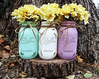 Set of 3 Quart Size Painted Ball Mason Jars.  Wedding Centerpieces. Table Centerpieces. Painted Mason Jars. Rustic Home Decor. Mason Jars.