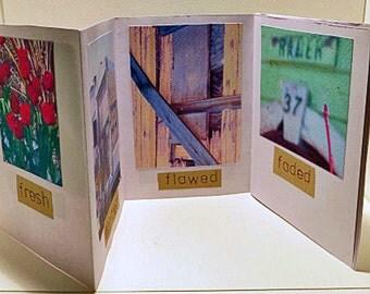 Handmade Book. Small decorated foldout book. Photographs of Katoomba on theme of Wabi Sabi.