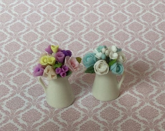 Bouquets of flowers in porcelain jars