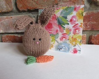 Soft Hand Knitted Rabbit with Carrot - Woodland Animal - Bunny Gift