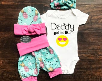 First Father's Day, Baby Girl Summer Outfit, Teal Shorts With Pink Pineapples & Cuffs, Hat and Headband, Baby Girl Shorts, Father's Day Gift