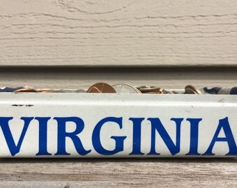 Upcycled Virginia license plate box, license plate tray, back to school gift, gift for dad, letter tray, hand-crafted, license plate craft