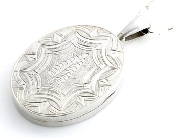 Large Victorian Aesthetic Silver Locket with Fern Motif- Circa 1875