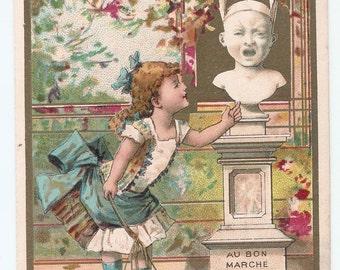 Antique Victorian trade card 1895 advertising store Bon Marché Paris punishment school dunce cap girl french Vintage edwardian ephemera