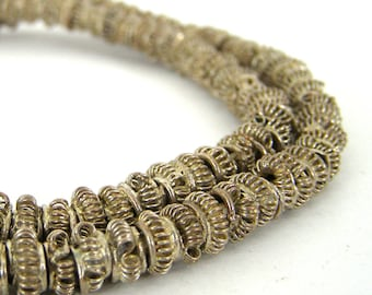 135 Silver Plated Brass African Trade Coiled - Handmade Coil - Soldered Spacer Beads - 4x7mm