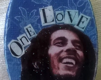 "Bob Marley ""One Love"" Decoupage Pendant"