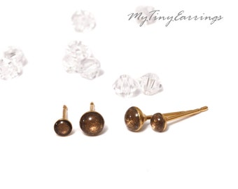 Set of 2 Pairs of Chocolate Piercing Earrings Mini Tiny 4, and 3mm Stainless Steel Gold Plated Posts plus High Quality Epoxy Resin 175-4-3