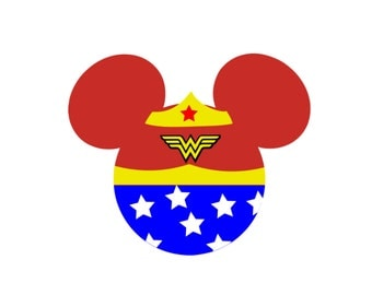 Wonder Woman Minnie Mouse Personalized  Classic Super Hero Matching Mother Daughter Family Disney Iron On Decal Vinyl for Shirt 066