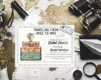 suitcase invitation  etsy, Bridal shower invitations