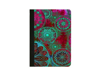 IPad 2 case,IPad 3 Case, Ipad 4 Case Ipad Air Case Ipad Air 2 Case Ipad Faux Leather Folio Case Ethnic Red and Lime Mandala Folio Case