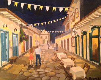 Original Street view painting, Paraty Brazil