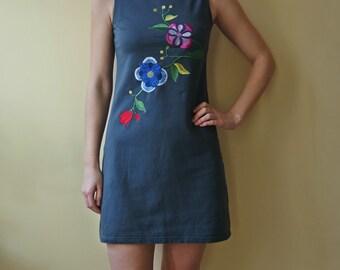 Vintage Gray Cotton Dress, Dress With Floral Design Embroideries, Mini Dress, Size S