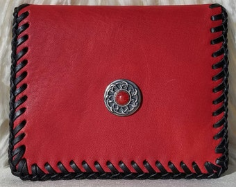 Ruby Red Petite Slim Leather Wallet, ID Window/3 Card Slot Leather Interior, Red Stone/Metal Accent Piece, HandLaced