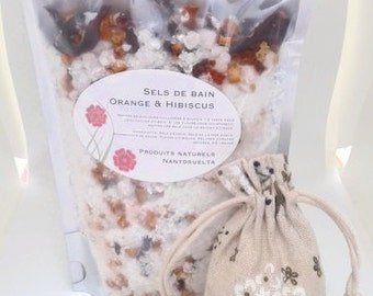 Orange bath salts & Hibiscus - facts in Quebec - available with or without burlap bag